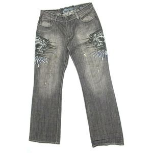 Affliction Gray Drowning Skulls Embroidered Jeans